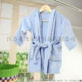 柔飛兒童法萊絨浴袍純色帶系帶睡袍嬰幼兒家居服