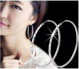 純銀批發S990純銀耳環韓版時尚大耳圈明星款女耳圈銀飾品5cm