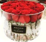 【厂家直销】玫瑰花盒圆形亚克力永生鲜花保护展示盒情人节礼物