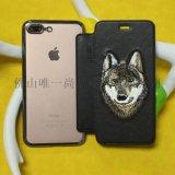 3D立体刺绣苹果iPhone 7 plus手机套苹果6/6s/6 plus皮质保护套