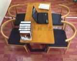 定制美式復古鐵藝實木餐桌椅組合簡約辦公桌電腦桌椅休閒咖啡桌書桌椅