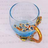 珐琅彩绘玻璃杯金属花蕊底座把手