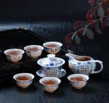 青花玲珑茶具价格 8头青花高档茶具