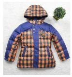 男童新款韩版学院风男中童儿童格子拼接连帽羽绒服外套