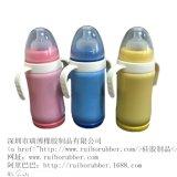 廠家批發嬰兒全硅膠奶瓶 帶吸管手柄防脹氣防摔寶寶新生兒寬口徑