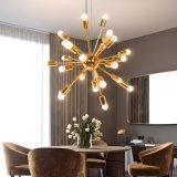 北歐鄉村金色鐵藝吊燈多頭 簡約餐廳客廳臥室酒店展廳金色燈具