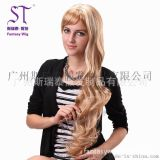 广州假发生产厂家 女士金色长卷发假发 欧美时尚