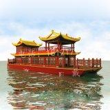 山東河北觀光木船 景區雙層餐飲船帶亭子水上餐廳旅遊船 電動觀光船景區雙層畫舫船價格