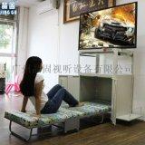 白色投影机移动推车 带折叠床移动车 电视挂架