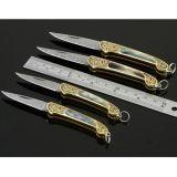 慕尚女王高档钥匙刀 纯手工折叠刀 大马士革钢 折刀 铜头雕花彩贝