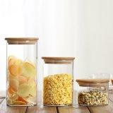 100*200 透明密封茶叶罐 防潮收纳瓶带竹木盖透明收纳玻璃罐