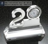 20周年庆典纪念品,周年晚会嘉宾礼品,企业10周年工艺品,金属时钟办公摆件