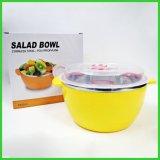 不鏽鋼韓式塑鋼沙拉碗,不鏽鋼彩色沙拉盆配蓋,保鮮密封碗