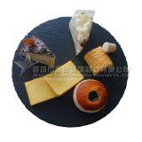 圆形黑色板岩石材餐盘
