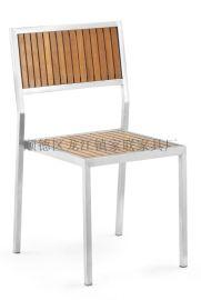【家联家具】OP-738高档不锈钢拉丝户外休闲野餐塑木柚木餐椅