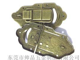 箱包弹片浅色青古铜搭扣锁工具箱铁搭扣军工箱箱包扣