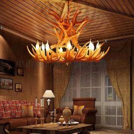 爆款热销鹿角九头树脂吊灯玛斯欧MS-P2005-9+6非标工程酒店大厅美式复古餐厅吊灯