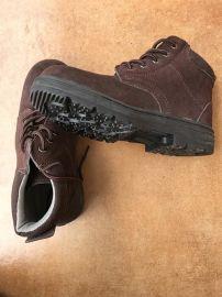 高帮深棕色一级反绒牛皮耐磨防砸耐油耐酸碱耐高温工作鞋防护鞋劳保鞋