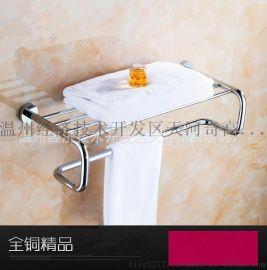 全铜浴室多功能毛巾架 多杆浴巾架 毛巾挂杆浴室五金挂件置物架
