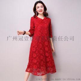 中国风新品 个性刺绣印花 假开领网纱连衣裙复古文艺纯色网纱中长裙