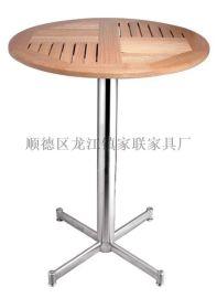 【家联家具】BT-005高档不锈钢户外休闲野餐塑木柚木餐桌可拆