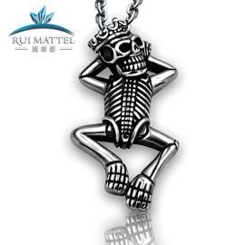 瑞美泰 欧美新款男士钛钢项链 朋克大骷髅骨架吊坠首饰品厂家批发