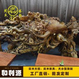 閩武藝雕大型雕刻 香樟木人生如意公司酒店大堂根雕工藝品擺件工廠直銷