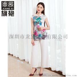 香西旗袍 画意墨彩花朵桑蚕丝上衣