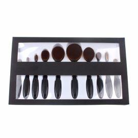 黑色 牙刷型化妝刷10支牙刷套裝牙刷化妝刷 帶盒子