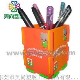 定制广告橡胶笔筒 软胶卡通笔筒