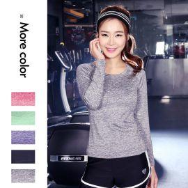 青季健身服长袖T恤女紧身速干衣韩版运动衣纯色跑步修身瑜伽服
