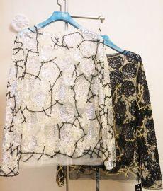 重工刺绣花朵亮片衫钉珠串珠网纱套头圆领长袖女