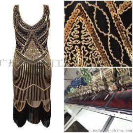 珠片裙背心中长款连衣裙