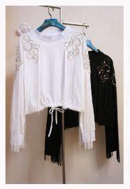 高腰短款棉弹料手工绣花钉珠亮片流苏圆领长袖套头衫女