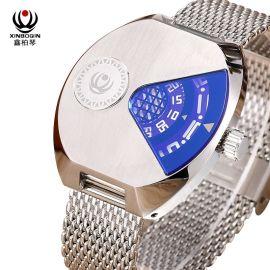 鑫柏琴批发厂家新款创意防水钢带商务 休闲男士正品石英圆形手表
