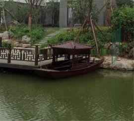 楚风木船出售江苏张家港湿地公园旅游船观光船木质手划船