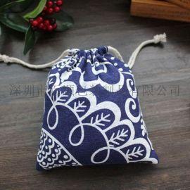 创意家居简约便携旅行束口袋 小清新棉布抽绳收纳袋 防尘袋子