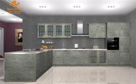 上海偉詢石灰色3D仿巖石紋理進口雙飾面櫥櫃門板T-6050