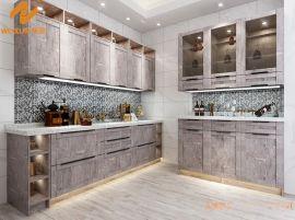 上海偉詢淺灰色木紋紋理進口雙飾面櫥櫃門板T-6158