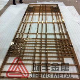 佛山专业不锈钢屏风厂家 中国风仿古不锈钢木纹屏风 玫瑰金花格厂