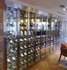 不锈钢酒柜定制 玫瑰金 镜面红酒展示柜,现代时尚家用酒庄酒窖