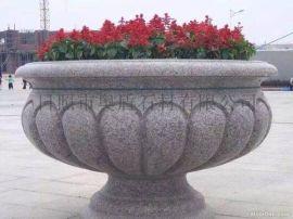 定制加工花岗岩花盆 优质工程花盆专业石材雕刻花盆五莲红花盆