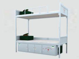 营房配发钢质上下床 制式灰白双人床铺 标准宿舍床位 学校上下铺 营房家具