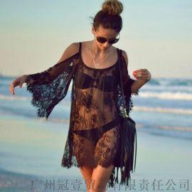 欧美夏季防晒衫 吊带沙滩罩衫性感透视蕾丝衫【外贸女装现货批发】
