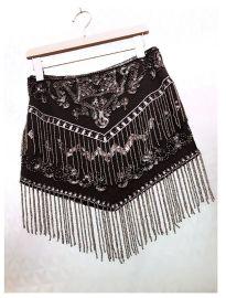 刺绣手工珠子流苏短裙半身包臀裙子