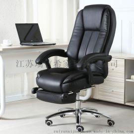 办公室可升降旋转真皮椅 中式简约带按摩搁脚老板椅