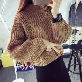 韩版2016短款毛衣女套头蝙蝠袖半高领宽松针织打底衫加厚厂家现货