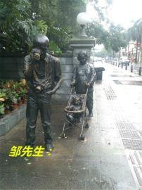 景观人物摆设 玻璃钢仿铜拉黄包车仿古景观人物雕塑摆设