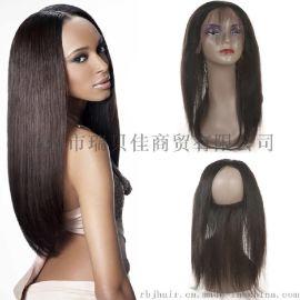 直条360真人发块 全蕾丝发块前头配件 22x4x2inch 外贸欧美巴西真人发