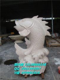 鲤鱼雕塑仿砂岩喷水鲤鱼人造砂岩鲤鱼喷泉圆雕H900*W600